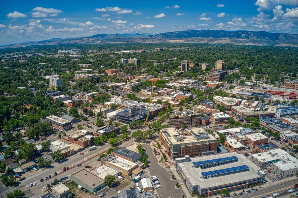 aerial view of the city of Fort Collins