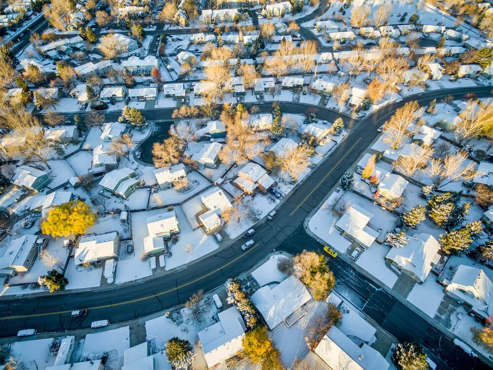 snowy neighborhood in fort collins colorado