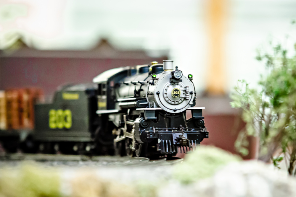 miniature train set with decorations