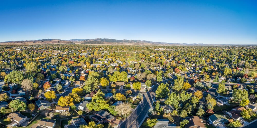 looking over fort collins neighborhood on a clear and sunny day