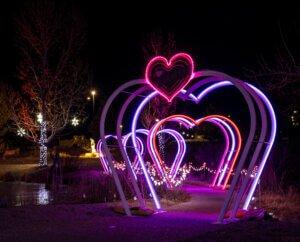 loveland valentine's day light display at chapungu sculpture park