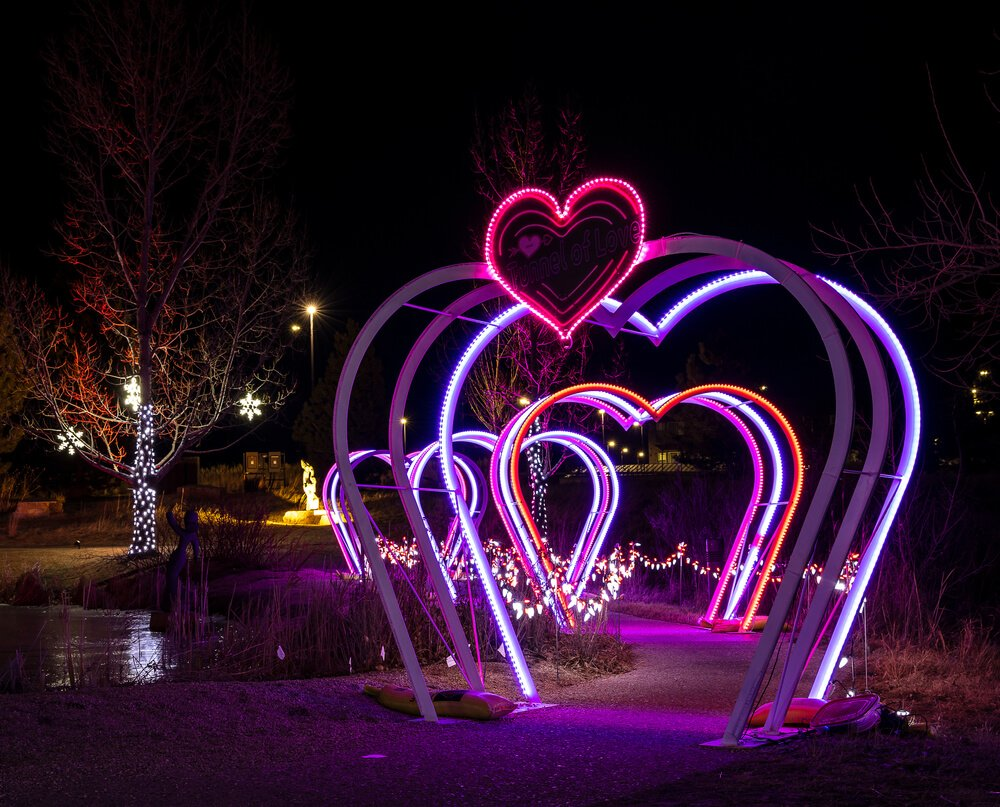 loveland valentine's day light display at chapungu sculpture park